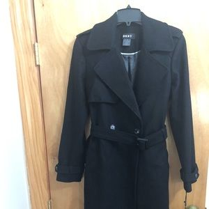 New DKNY Belted Wool Coat Black Size 10